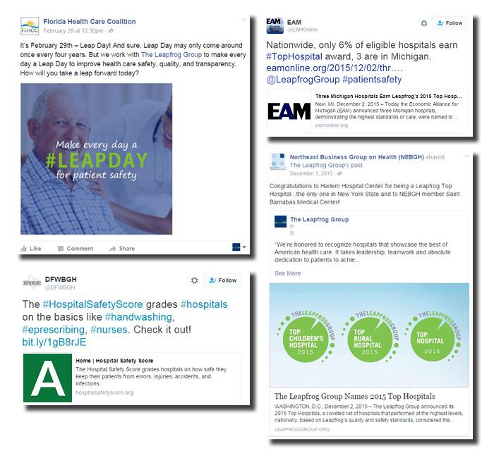 Samples of Regional Leader social media posts