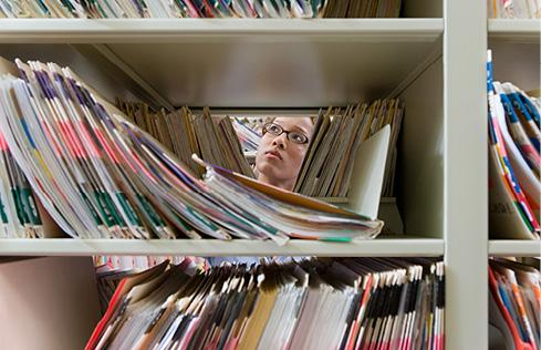 Women looking through medical records