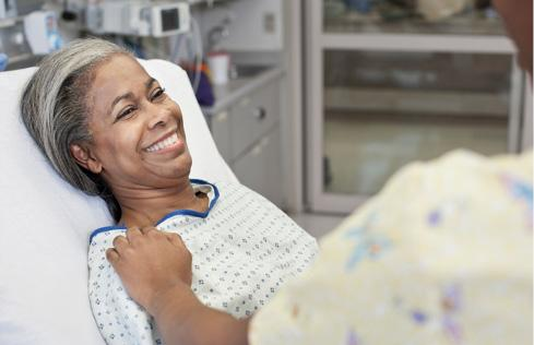 African American female patient smiling