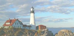 Maine landscape with lighthouse