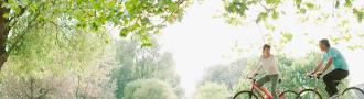 People on bikes beneath tree