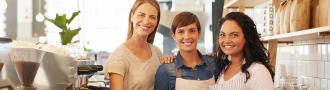Female coffee shop employees